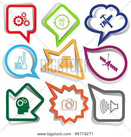 Tehnology set. Paper stickers. Raster illustration.