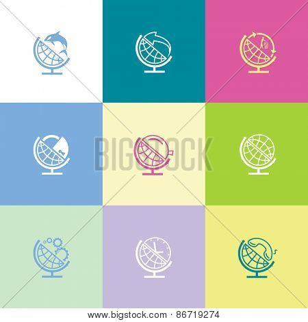School globe set. Flat color raster icons.