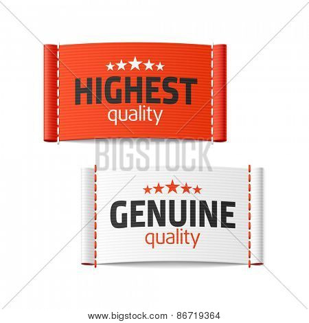 Highest and genuine quality clothing labels. Vector.