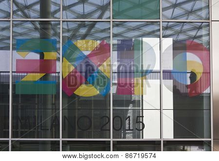 Expo 2015 Logo Imprinted On The Window