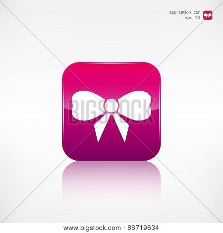 Gift, Christmas bow web icon. Application button.