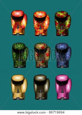 set boxing gloves Gold, pink, military, Russian national ornament, khokhloma, bronze, flame. Vector