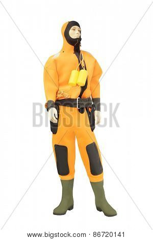 Mannequins in a orange diving suit