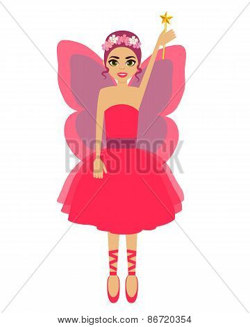 Fairy. Girl with wings and a magic wand. Vector illustration