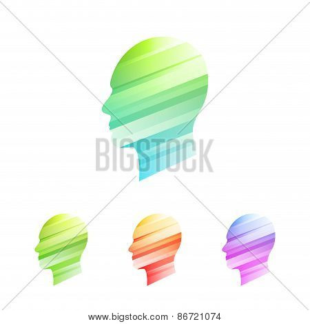 Colored heads icon set