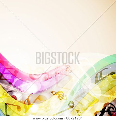 Musical icons on shiny colorful waves on brown background.