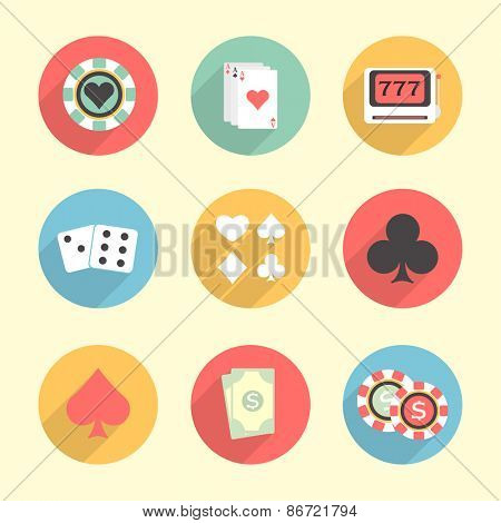 Colorful set of Casino elements including, poker chip, ace cards, slot machine, dices and cards symbols.