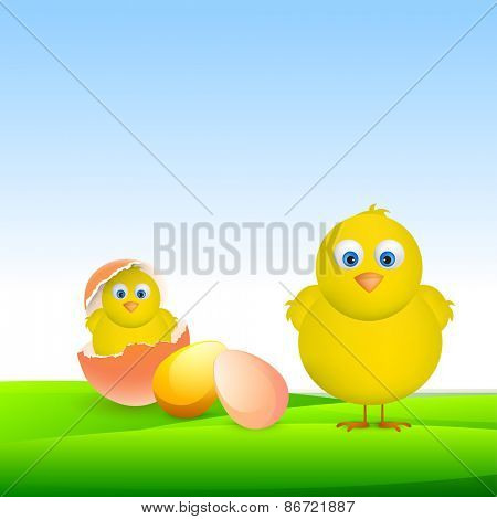 Cute chicks with colorful eggs for Happy Easter celebration on glossy nature background.