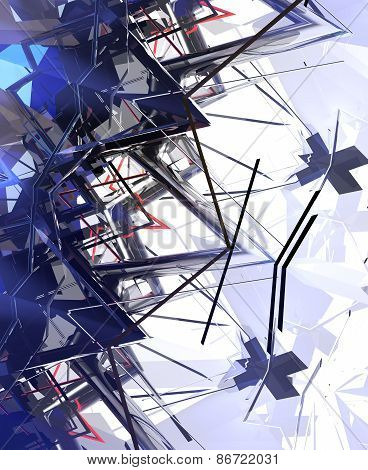 3D illustration of abstract with blue geometric shapes