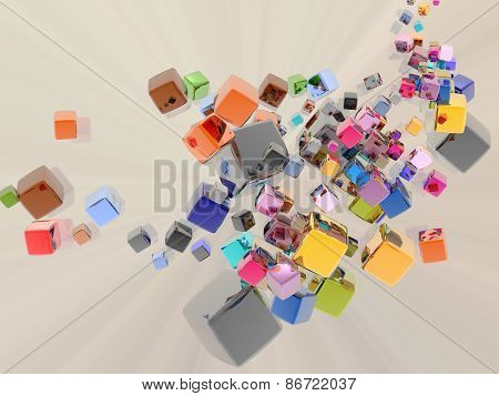 3D illustration of abstract with several multi colored cubes