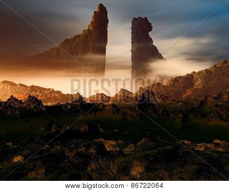 3D illustration of landscape with several mountains and two large rocks