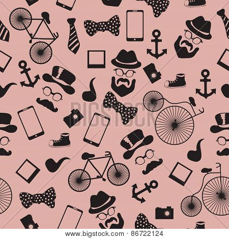 Seamless vector pattern in hipster style