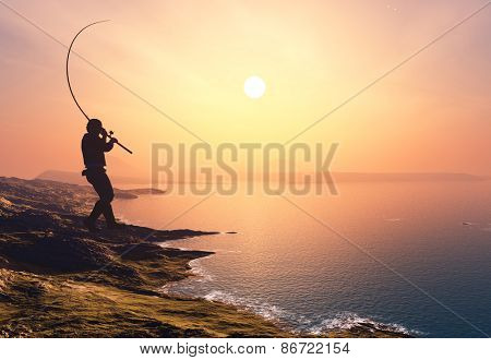 Silhouette of the fisherman on the beach.