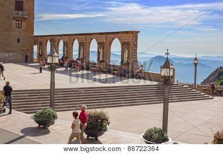 Main square in Montserrat, Spain