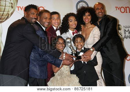 LOS ANGELES - FEB 6: (L-R) Anthony Anderson, Yara Shahidi, Marcus Scribner, Tracee Ellis Ross, Marsai Martin, Miles Brown at the 46th NAACP Image Awards Press Room on February 6, 2015 in Pasadena, CA