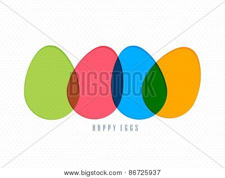 Happy Easter celebration greeting card with colorful eggs.