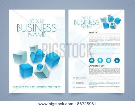 Stylish professional business brochure, template or flyer design with front and back page presentation.