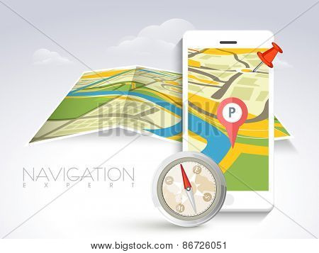 White smartphone with navigator map, paper folded pointer and compass on cloudy background.