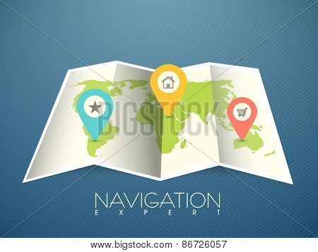 Colorful navigation pointers pointing to the world map on blue background.