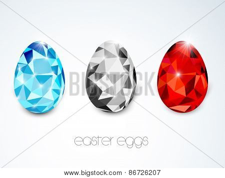 Happy Easter celebration greeting card with shiny colorful crystal eggs.