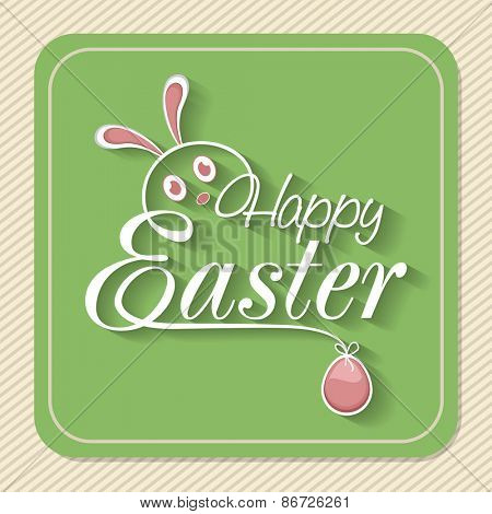 Vintage greeting card for Happy Easter celebration with creative bunny face and pink egg.