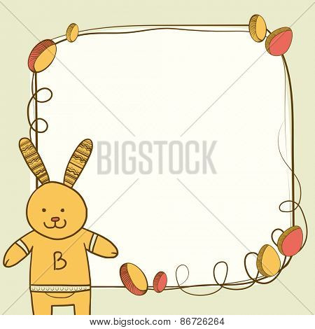 Happy Easter celebration greeting card with cute bunny and colorful eggs decorated frame for your message.