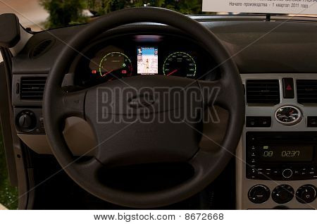 Vehicle control panel with embedded GLONASS satellite device