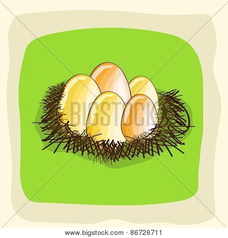 Shiny eggs in the nest for Happy Easter celebration on stylish background.