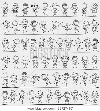 cute kids pattern, child like style drawing
