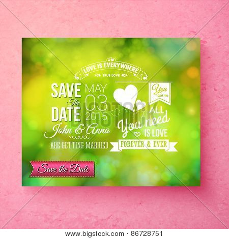 Fresh green organic Save The Date wedding template