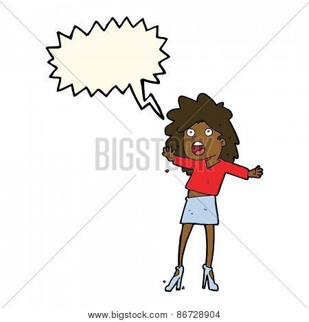 cartoon woman having trouble walking in heels with speech bubble