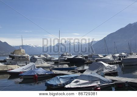 Idyllic View On Alps, Yachts And Lake In Switzerland