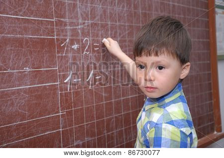 Boy Near The Blackboard