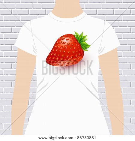 Fun t-shirt design with a luscious ripe strawberry