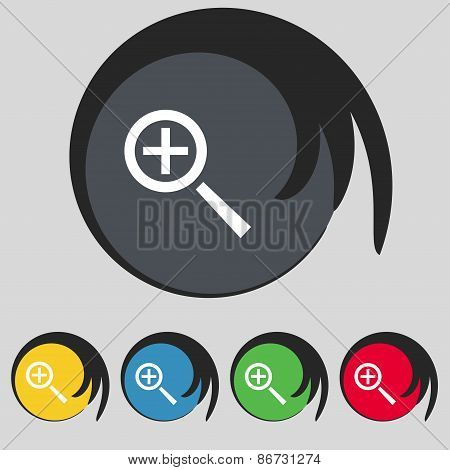 Magnifier Glass, Zoom Tool Icon Sign. Symbol On Five Colored Buttons. Vector