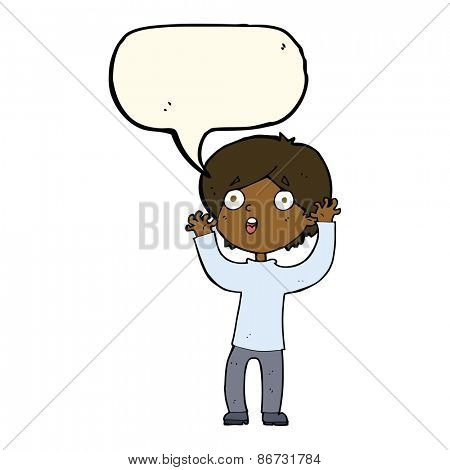 cartoon frightened man with speech bubble