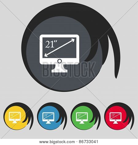 Diagonal Of The Monitor 21 Inches Icon Sign. Symbol On Five Colored Buttons. Vector