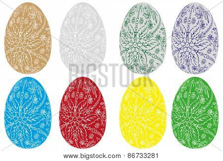 vector - set of Easter eggs , hand painted