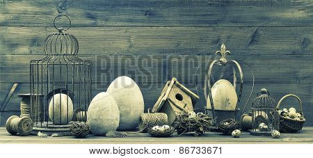 Vintage Still Life With Easter Decorations, Eggs, Nest And Birdcage