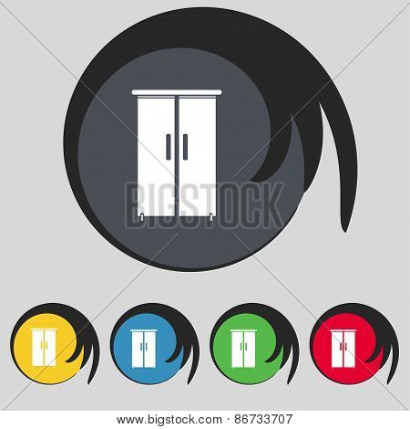 Cupboard Icon Sign. Symbol On Five Colored Buttons. Vector