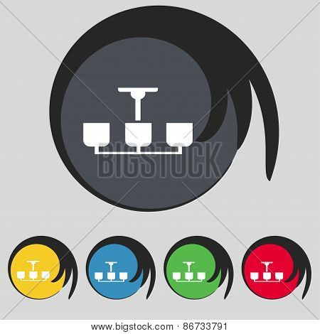 Chandelier Light Lamp Icon Sign. Symbol On Five Colored Buttons. Vector