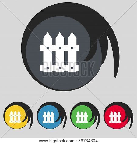 Fence Icon Sign. Symbol On Five Colored Buttons. Vector