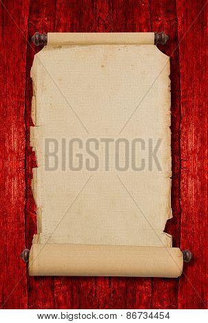 Vintage Blank Aged Paper Scroll. Antique Style Parchment Manuscript