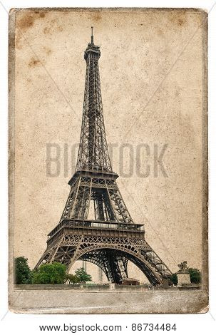 Vintage Style Postcard Concept With Eiffel Tower Paris