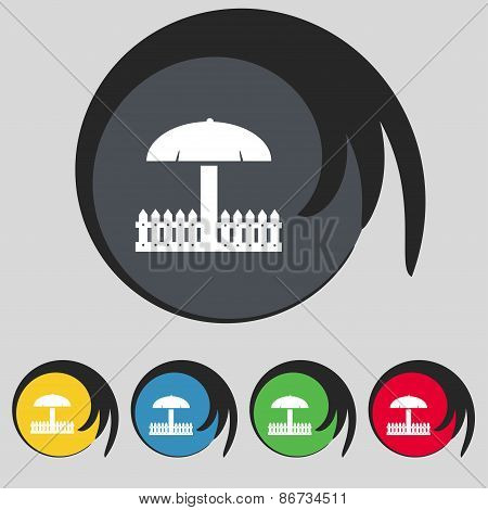 Sandbox Icon Sign. Symbol On Five Colored Buttons. Vector