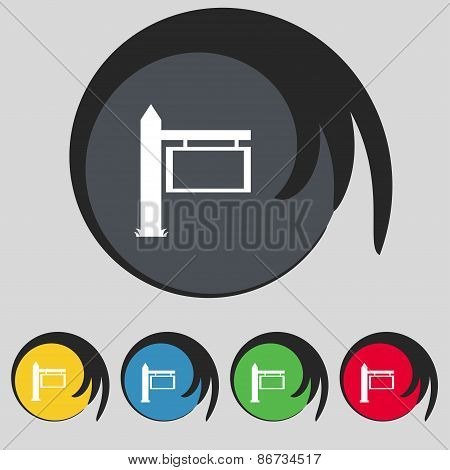 Information Road Sign Icon Sign. Symbol On Five Colored Buttons. Vector