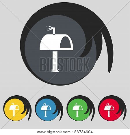 Mailbox Icon Sign. Symbol On Five Colored Buttons. Vector