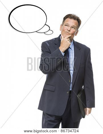 Handsome Pensive Businessman With Hand on Chin Looking Up At Blank Thought Bubble On White.