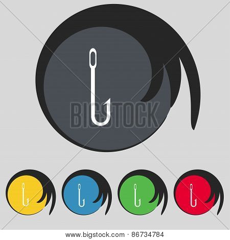 Fishing Hook Icon Sign. Symbol On Five Colored Buttons. Vector