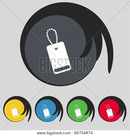 Army Chains Icon Sign. Symbol On Five Colored Buttons. Vector